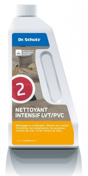 Un bidon de produit nettoyant intensif pour sols LVT et PVC