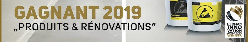 """Bannière indiquant que les produits ESD de Dr. Schutz ont été les vainqueurs du """"German innovation awards 2019"""". On peut voir deux pots de ESD Coating."""