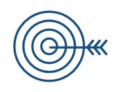 Une cible avec une flèche au centre.