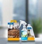 Des produits Dr. Schutz : un kit de rénovation LVT, un spray Fresh Up 2 en 1 et un bidon de nettoyant PU