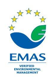Logo EMAS, une vague bleue, un sigle Euro vert et 6 étoiles jaunes au dessus.
